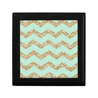 Cool Trendy Chevron Zigzag Mint Faux Gold Glitter Gift Box