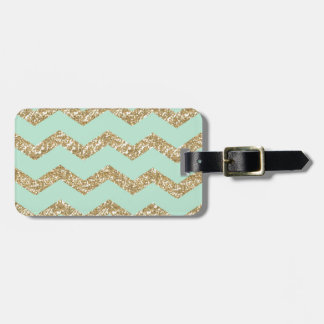 Cool Trendy Chevron Zigzag Mint Faux Gold Glitter Luggage Tag