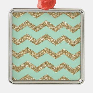 Cool Trendy Chevron Zigzag Mint Faux Gold Glitter Metal Ornament