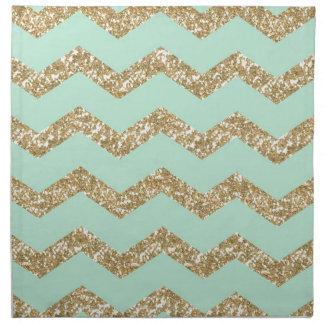 Cool Trendy Chevron Zigzag Mint Faux Gold Glitter Napkin
