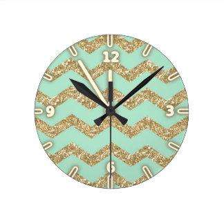 Cool Trendy Chevron Zigzag Mint Faux Gold Glitter Round Clock