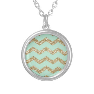 Cool Trendy Chevron Zigzag Mint Faux Gold Glitter Silver Plated Necklace