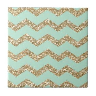 Cool Trendy Chevron Zigzag Mint Faux Gold Glitter Small Square Tile