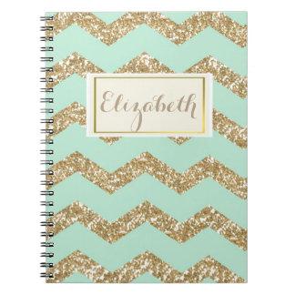 Cool Trendy Chevron Zigzag Mint Faux Gold Glitter Spiral Notebook