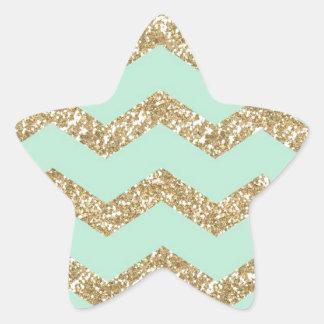 Cool Trendy Chevron Zigzag Mint Faux Gold Glitter Star Sticker