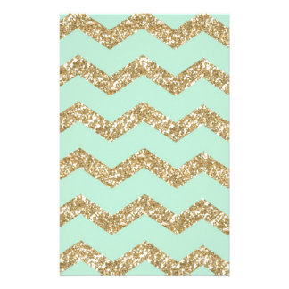 Cool Trendy Chevron Zigzag Mint Faux Gold Glitter Stationery