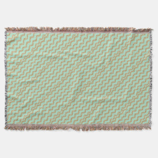 Cool Trendy Chevron Zigzag Mint Faux Gold Glitter Throw Blanket