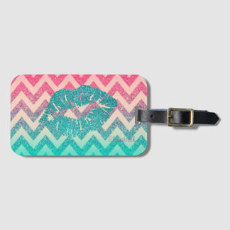 Cool Trendy Chevron Zigzag Ombre  Glitter Lips Luggage Tag