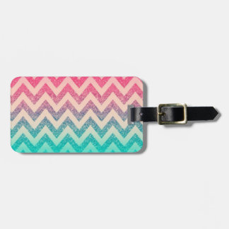 Cool Trendy Chevron Zigzag,Ombre Glitter Luggage Tag