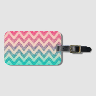Cool Trendy Chevron Zigzag Ombre  Glitter Luggage Tag