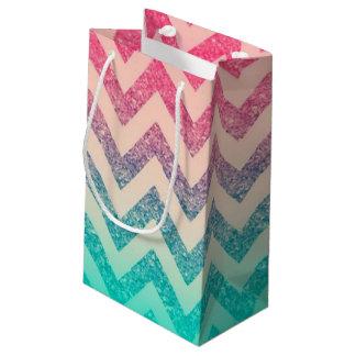 Cool Trendy Chevron Zigzag Ombre  Glitter Small Gift Bag