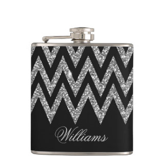 Cool trendy chevron zigzag silver faux glitter hip flasks
