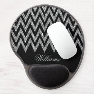 Cool trendy chevron zigzag silver faux glitter gel mouse pad
