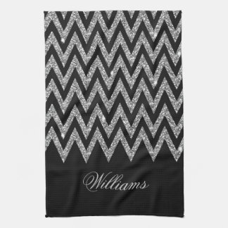 Cool trendy chevron zigzag silver faux glitter hand towel