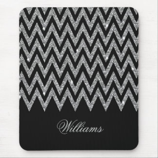 Cool trendy chevron zigzag silver faux glitter mouse pad