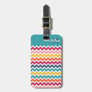 Cool trendy colourful custom Monogram chevron Tag For Bags