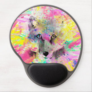 Cool trendy colourful vibrant fox abstract paint gel mouse pad