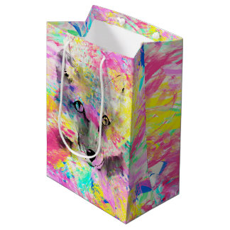 Cool trendy colourful vibrant fox abstract paint medium gift bag