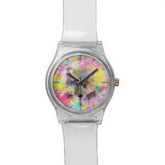 Cool trendy colourful vibrant fox abstract paint watch