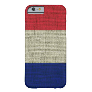 Cool trendy France flag burlap texture Barely There iPhone 6 Case