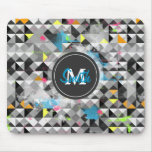 Cool trendy geometric monogram triangles pattern mousepad