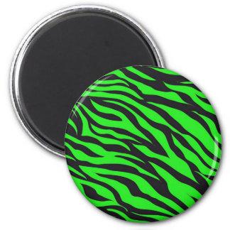 Cool Trendy Neon Lime Green Zebra Stripes Pattern Magnet