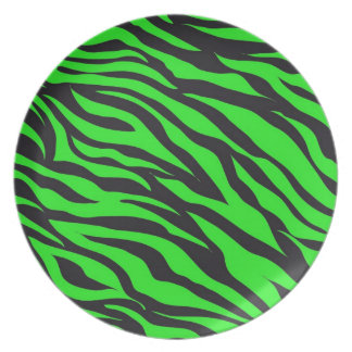 Cool Trendy Neon Lime Green Zebra Stripes Pattern Plate