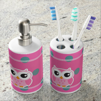 Cool Trendy Polka Dots With Cute Owl Bathroom Set