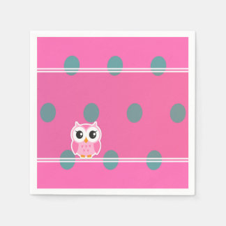 Cool Trendy Polka Dots With Cute Owl Paper Serviettes