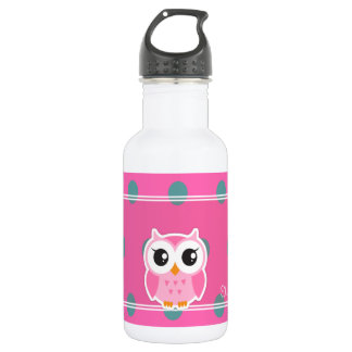 Cool Trendy Polka Dots With Cute Owl-Personalized 532 Ml Water Bottle