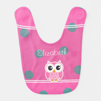 Cool Trendy Polka Dots With Cute Owl-Personalized Bib