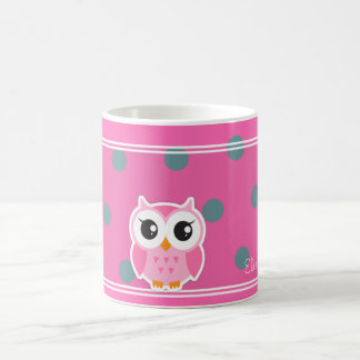 Cool Trendy Polka Dots With Cute Owl-Personalized Coffee Mug