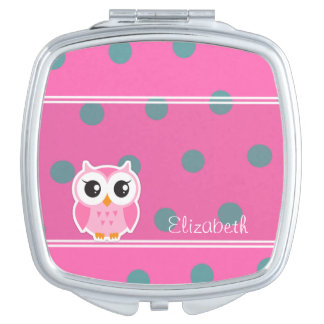 Cool Trendy Polka Dots With Cute Owl-Personalized Compact Mirror