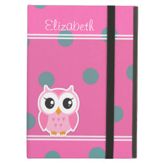 Cool Trendy Polka Dots With Cute Owl-Personalized Cover For iPad Air
