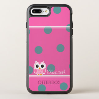 Cool Trendy Polka Dots With Cute Owl-Personalized OtterBox Symmetry iPhone 8 Plus/7 Plus Case