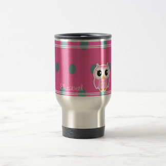 Cool Trendy Polka Dots With Cute Owl-Personalized Travel Mug