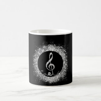Cool trendy sparkles glitter dust  treble clef basic white mug