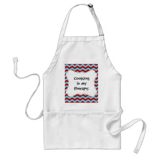 Cool Trendy Teal Turquoise Red Chevron Zigzags Apron