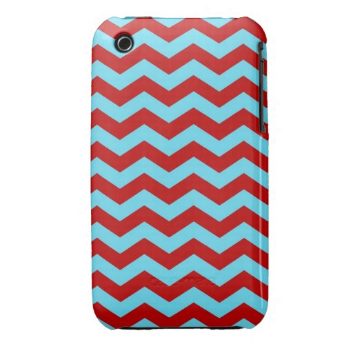 Cool Trendy Teal Turquoise Red Chevron Zigzags iPhone 3 Cases