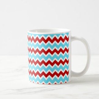 Cool Trendy Teal Turquoise Red Chevron Zigzags Coffee Mug