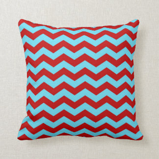 Cool Trendy Teal Turquoise Red Chevron Zigzags Cushion