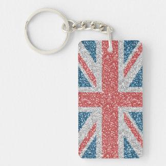 Cool trendy U.K. Union Jack flag faux glitter Key Ring