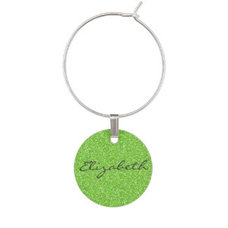 Cool trendy vibrant neon green faux glitter wine charms