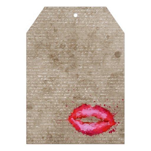 Cool trendy vintage watercolours lips splatters custom invitations