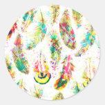 Cool trendy watercolor neon splatters feathers