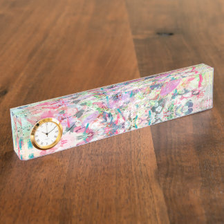 Cool trendy watercolor splatters abstract art name plate