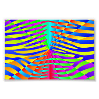 Cool trendy Zebra pattern colorful rainbow stripes Photo Print