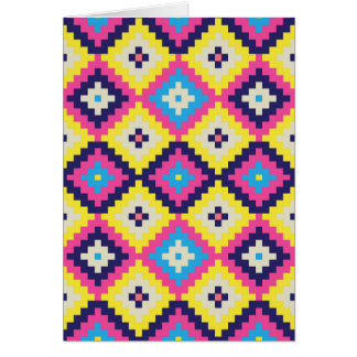 Cool Tribal Diamond Geometric Pink Blue Yellow Card