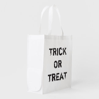 Cool Trick Treat Halloween Custom Black White Reusable Grocery Bag