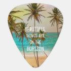 Cool Tropical Hawaiian Beach Palm Trees Guitar Pick
